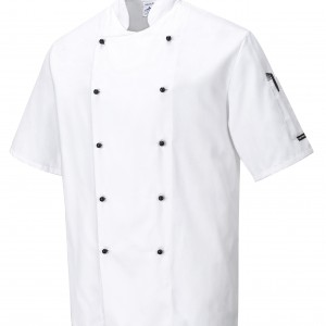 chefs pop button jacket white